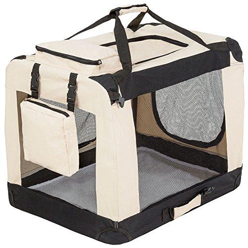 "TecTake Faltbare Hundetransportbox Transportbox beige 69x50x52cm ""L"""