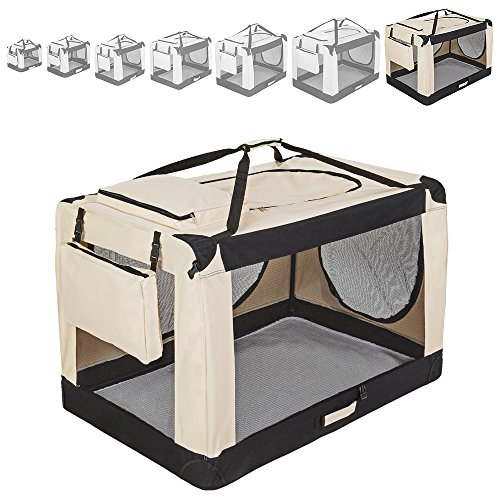 "TecTake Faltbare Hundetransportbox Transportbox beige -diverse Größen- (""XXXXL"" 121x77x79cm)"