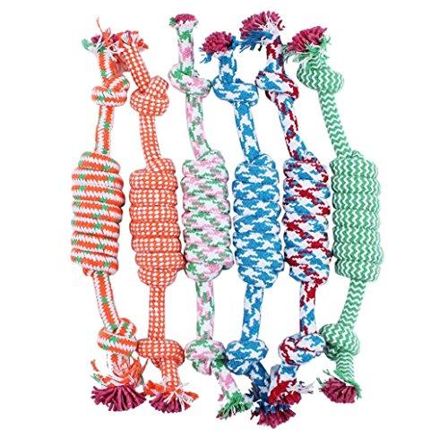 Tonsee Welpe Hund Haustier Spielzeug Baumwolle geflochten Knochen Seil kauen Knot neue zufällige Farbe