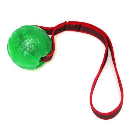 Treat Dispensing Chew-Ball am Seil, von Starmark, grün mit l, von Starmark, 7cm, grün mit gummiertem Band mit Handschlaufe M-7cm