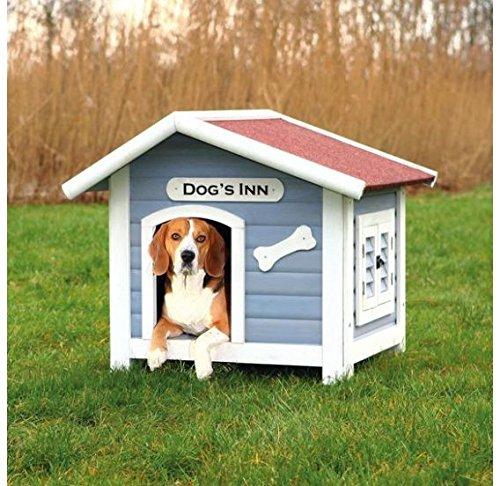 Trixie | natura Hundehütte Dog's Inn mit Satteldach hellblau/weiß | L 107 x B 93 x H 90 cm