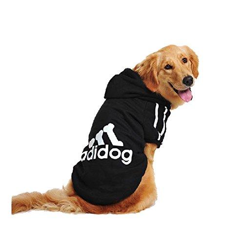 UUstar® Hundekleidung für kleine und große Hund (S bis 9XL) fünf Farben HundeHoddie (S, Schwarz)
