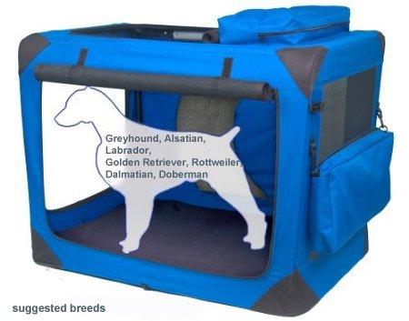 Valentina Valentti V8 Faltbare Tragetasche für Hunde, weiche Transportbox, Segeltuch, Größe XXL, Blau