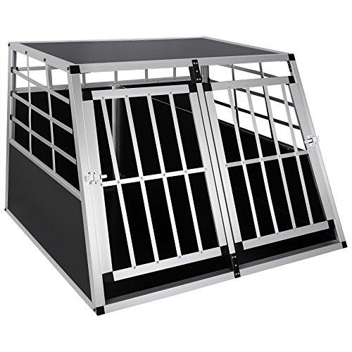WOLTU HT2013 Hundebox Hundetransportbox Transportbox Alubox Aluminium Alu Box 2 Türig Reisebox Gitterbox Schwarz/Silber