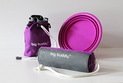 big buddy® Outdoor activities 3er Set faltbarer Silikonnapf Dummy Snackbag Lila