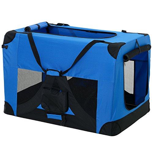 [pro.tec] Hundetransportbox (königsblau - faltbar) Gr. XXL