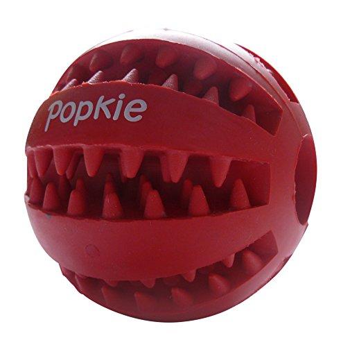 Popkie Hundespielzeug Ball mit Dental-Zahnpflege-Funktion aus Naturkautschuk | mit Noppen und Loch für Leckerli, ø 7cm