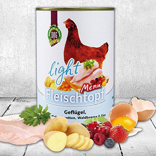 DOGREFORM Fleischtopf Menü light Diätfutter Nassfutter getreidefrei mit 82 % Geflügel nur 1,9 % Fett Diätfutter Gewichtsregulation ohne ständigen Hunger und Futter-Betteln