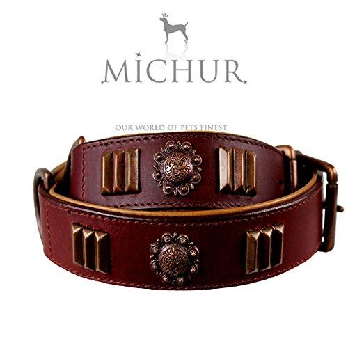 MICHUR ANGILO Hundehalsband, Lederhalsband, Halsband, BRAUN, LEDER, in verschiedenen Größen erhältlich