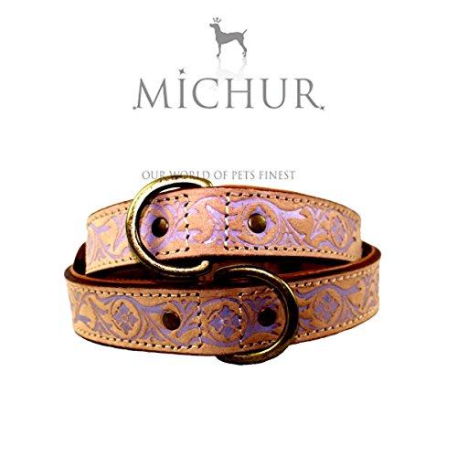 MICHUR CREEK, Hundehalsband, Lederhalsband, Halsband, BEIGE, LEDER, fliederfarbene Stanzungen, Gr. XS (ca. 35cm) - XL (ca. 55cm)