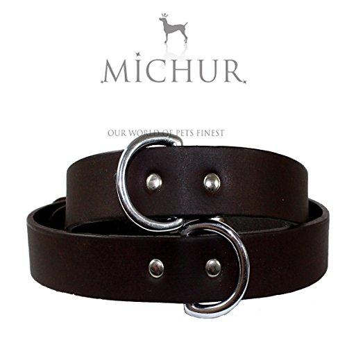 MICHUR Calipso, Hundehalsband, Lederhalsband, Halsband, Braun, LEDER, in verschiedenen Größen erhältlich