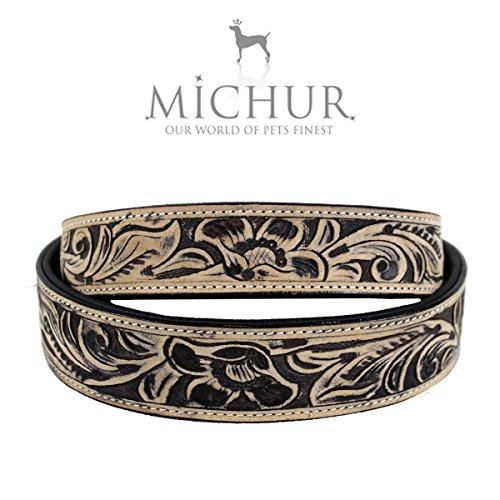 MICHUR Cristiano Hundehalsband, Lederhalsband, Halsband, BRAUN, LEDER, mit gestanzten Blumenmuster, in verschiedenen Größen erhältlich