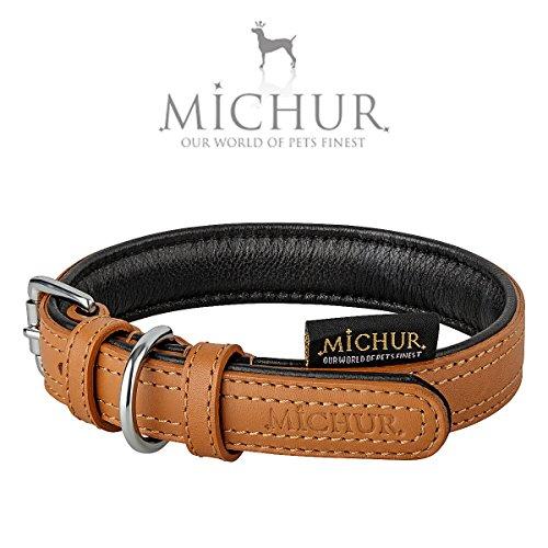 MICHUR Dana, Hundehalsband, Lederhalsband, TAN und SCHWARZ, LEDER, in verschiedenen Größen erhältlich
