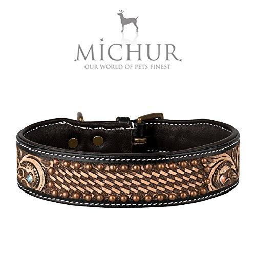 MICHUR Davide Braun , Hundehalsband, Lederhalsband, Halsband, LEDER, in verschiedenen Größen erhältlich