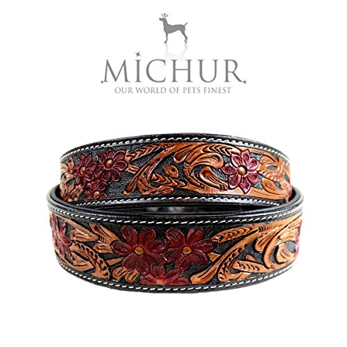 MICHUR Flora Hundehalsband, Lederhalsband, Halsband, SCHWARZ, LEDER, mit roten Blumenmuster, in verschiedenen Größen erhältlich