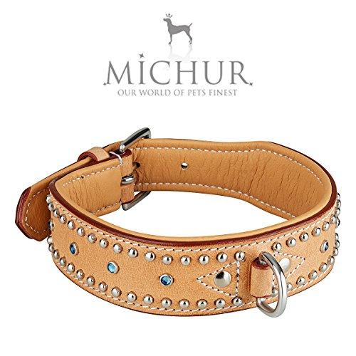 MICHUR Liam beige, Hundehalsband, Lederhalsband, Halsband, LEDER, TÜRKISE STEINE MIT RUNDNIETEN, in verschiedenen Größen erhältlich