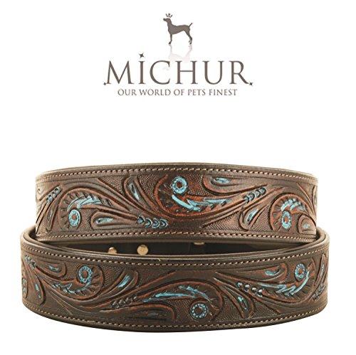 MICHUR Luis Hundehalsband, Lederhalsband, Halsband, Braun mit blauen Akzenten zwischen schön Stanzmuster, LEDER, in verschiedenen Größen erhältlich