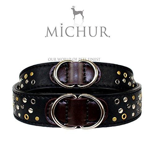 MICHUR OSKAR, Hundehalsband Art Leder, Hund Halsband Schwarz, in verschiedenen Größen erhältlich