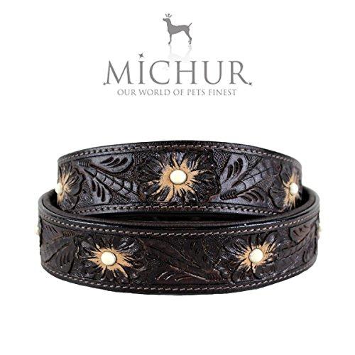 MICHUR Pablo Hundehalsband, Lederhalsband, Halsband, BRAUN, LEDER, mit gestanzten Blumenmuster und weißen Perlen, in verschiedenen Größen erhältlich