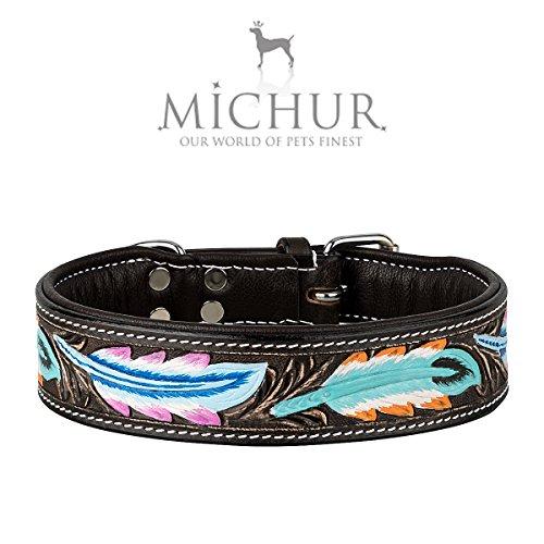 MICHUR Pietro Braun mit Feder Muster, Hundehalsband, Lederhalsband, Halsband, LEDER, in verschiedenen Größen erhältlich