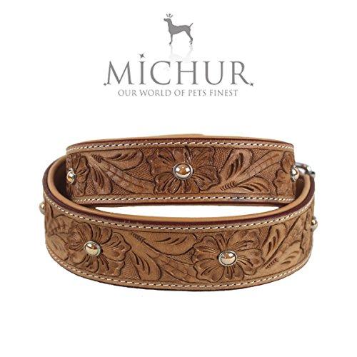 MICHUR Rafael Hundehalsband, Lederhalsband, Halsband, BEIGE, LEDER, mit gestanzten Blumenmuster und beigen Perlen, in verschiedenen Größen erhältlich