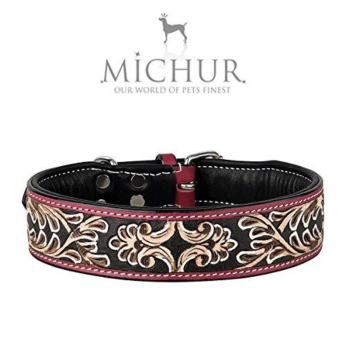 MICHUR Silvio Braun Rot Schwarz, Hundehalsband, Lederhalsband, Halsband, LEDER, in verschiedenen Größen erhältlich