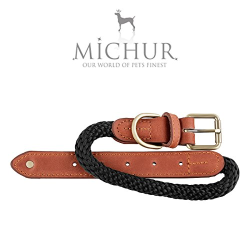 Michur Sherpa, Hundehalsband Tau mit Leder verstärkt, Rund mit Polyamidkern und aus Nylon geflochten, in verschieden Größen und Farben erhältlich.