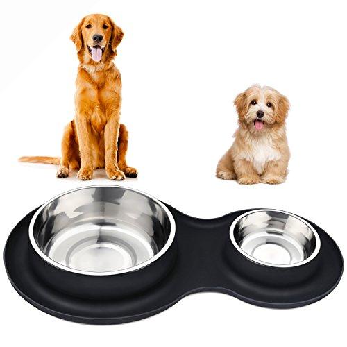 Aookey Hundenapf Fressnapf, Edelstahl Hundenapf mit Nicht Kleckern Rutschfesten Silikonmatte, 1450ml+450ml Feeder Schalen Haustierfutter Wasserschale für Alle Hunde und Katzen