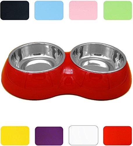 DDOXX Doppel Fressnapf | Futternapf | Melamin | Edelstahl | für große, mittelgroße, mittlere & kleine Hunde, Katzen, Hamster, Welpen | Napf Hund Katze | Hundenapf | Katzennapf |