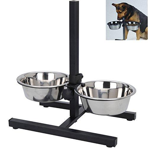 Hundenapf Höhenverstelbar inkl. 2 x 1,8 Liter Näpfen Fressnapf Futternapf Hundenapf Katzennapf Wassernapf Smartweb