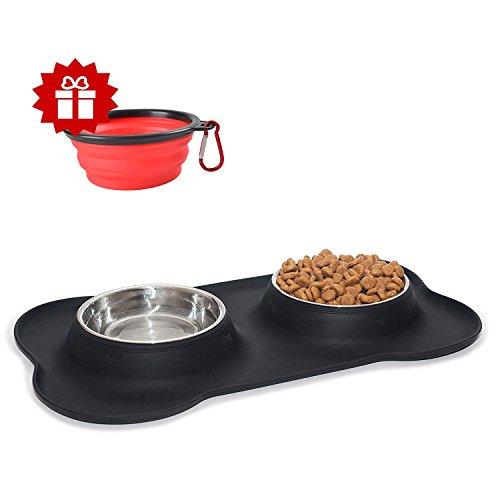 Hundenäpfe HmiL-U Edelstahl Fressnapf mit nicht kleckern rutschfesten silikon tablett mattefür Hunde und Katzen,2 x 350ml / 2 x 700 ml Doppel Schüsseln für Hundefutter und Wasser