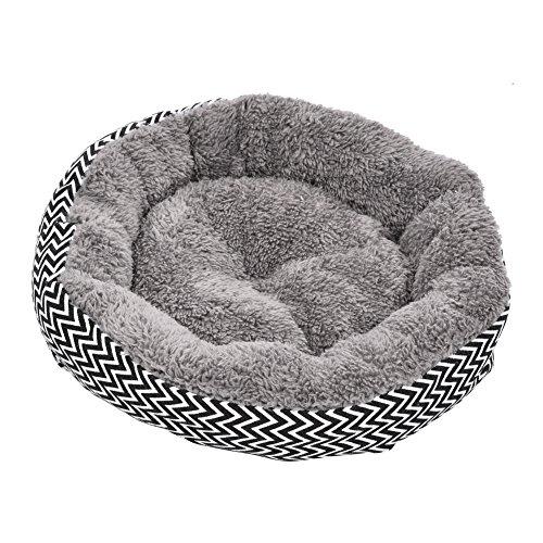 Jannyshop Schlafmatte Hundebett Rundes Hundekissen mit Streifen weiche warme Matten für kleine mittelgroße Hunde Welpen Katzen Maschine waschbar Schwarz/Lila S/L