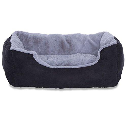 Katzenkratzbaum Kissen/Bett/Hundebett mit Kissen für Hunde, wendbar grau/schwarz 50x 37x 17cm