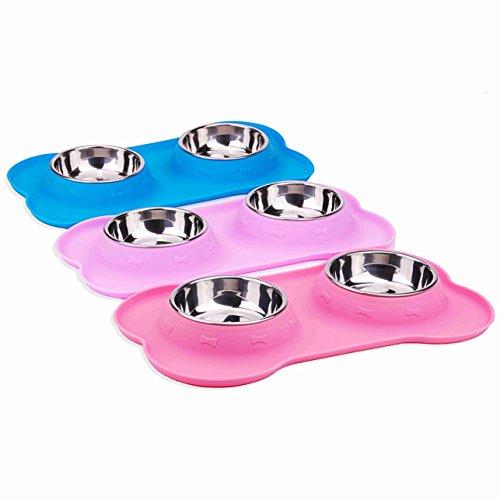 SuperDesign Doppelnapf mit hochwertiger und rutschfester Silikonmatte in Knochenform, geeignet für kleine Hunde oder Katzen, spülmaschinenfest und rutschfest