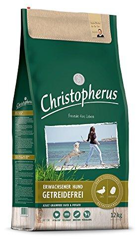 Christopherus Getreidefreie Vollnahrung für den ausgewachsenen Hund mit normaler Aktivität, Trockenfutter, Ente + Kartoffel, Ausgewachsener Hund, 12,0 kg