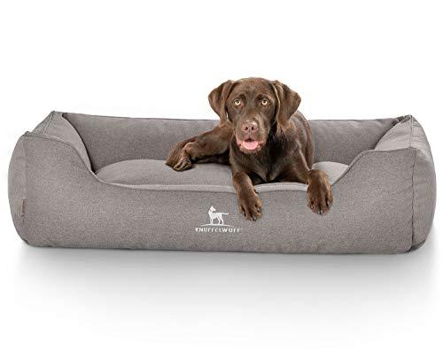 Knuffelwuff 14063-011 Hundebett Hundekorb Kudde Hundekörbchen Hundesofa Crispino mit Handwebcharakter Übergröße XXXL 155x105cm Grau