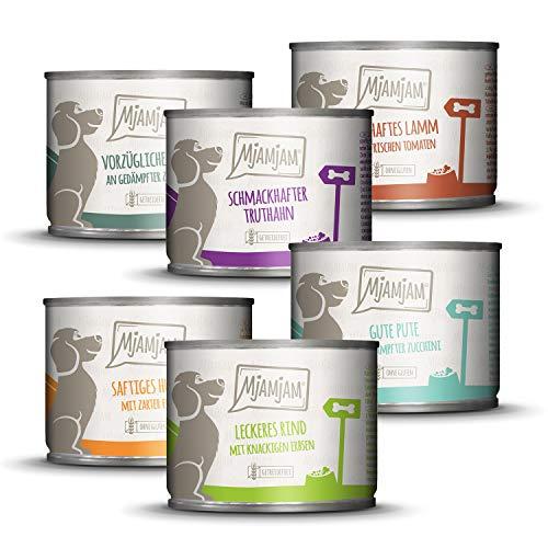 MjAMjAM - Premium Nassfutter für Hunde - Mixpaket II - mit Huhn & Ente, Rind, Pute, Kalb, Truthahn, Lamm, getreidefrei mit extra viel Fleisch